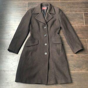 🔥Hugo Boss🔥 | 100% Virgin wool dark brown long pea coat jacket